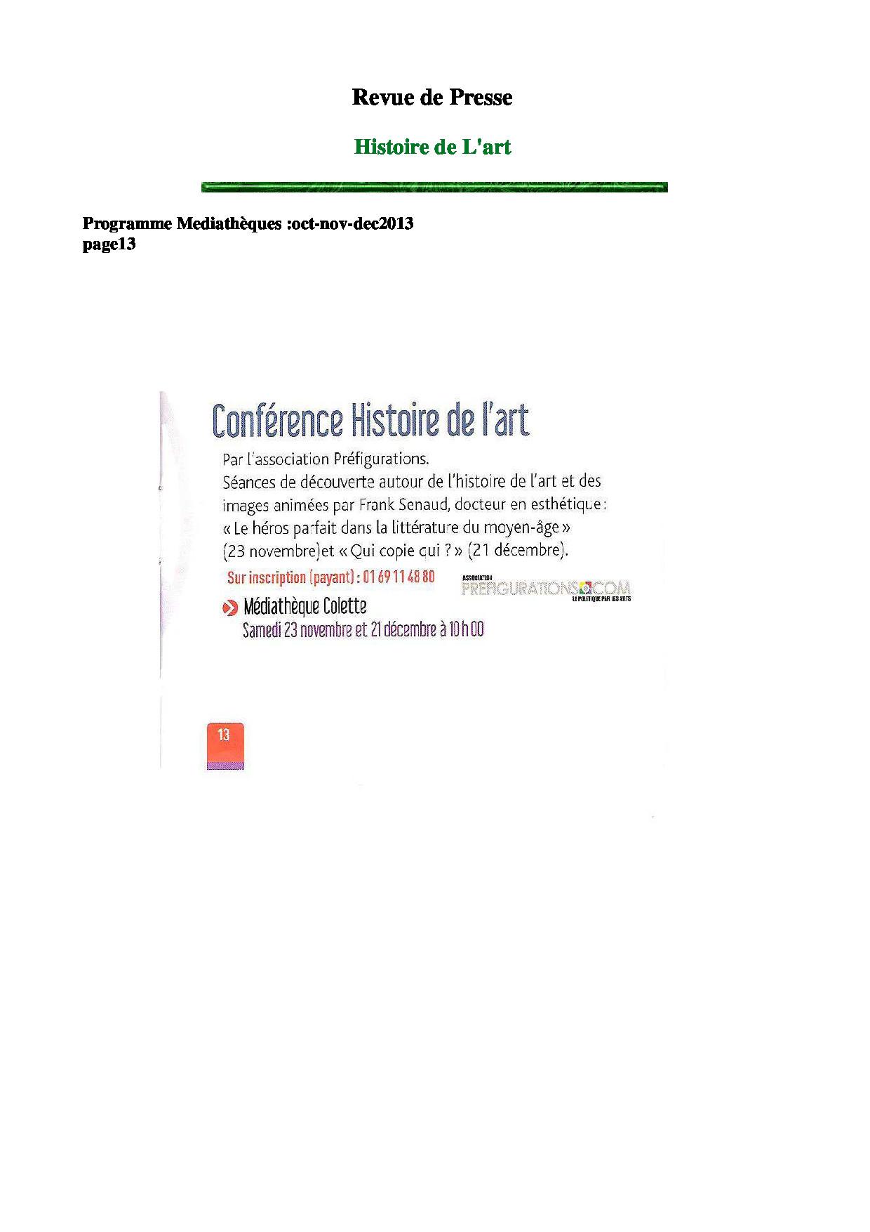 RDP programme des médiathèques oct-nov-dec 2013
