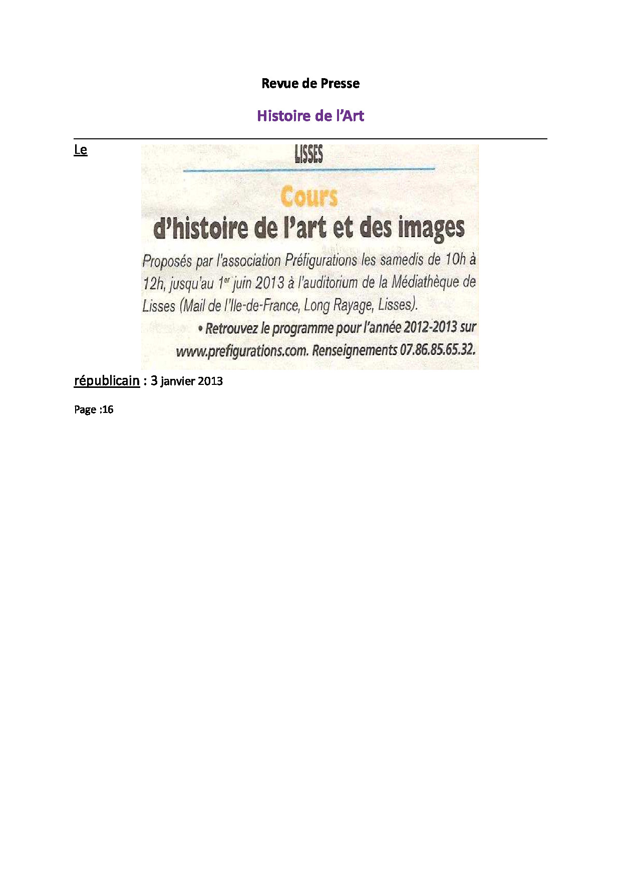 RP  Histoire de l'Art le Rep 3 janvier 2013