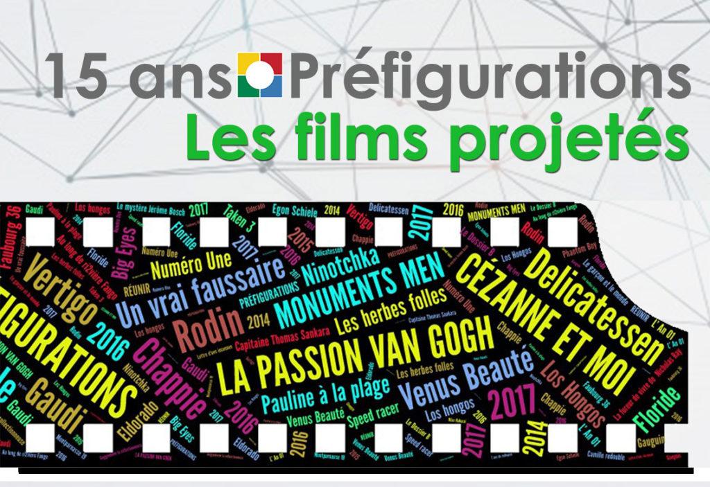 Vie de l'association, 15 ans préfigurations : Les films projetés
