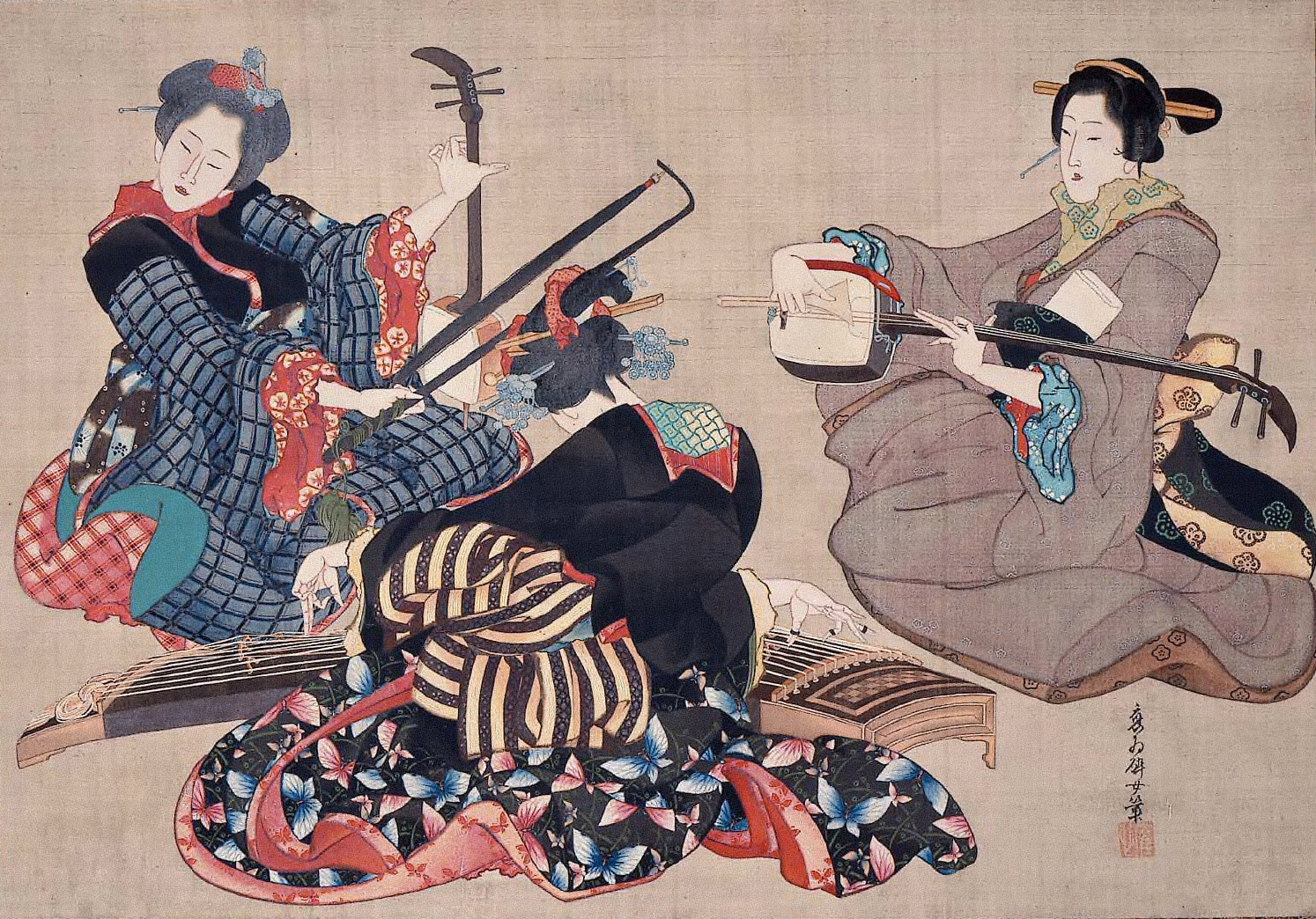 katsushika_oi_-_three_women_playing_musical_instruments