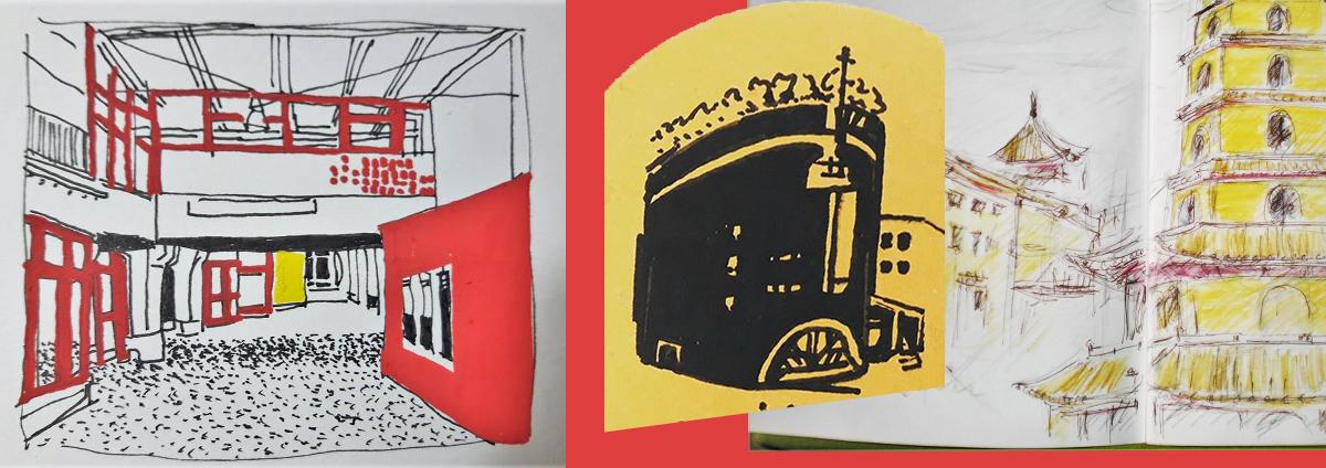 """Sortie Urban sketchers : """"Cathédrale et quartier centre Evry"""""""