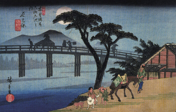 Hiroshige_Man_on_horseback_crossing_a_bridge