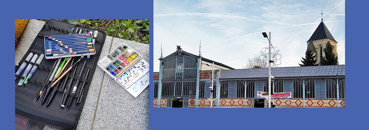 """SORTIE-CROQUIS Urban sketchers : """"Salengro - Marché de Corbeil-Essonnes"""""""