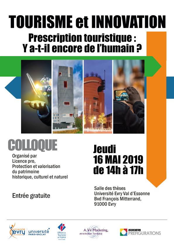COLLOQUE Tourisme «Prescription touristique : y a-t-il encore de l'humain ?»,  Jeudi 16 mai 2019