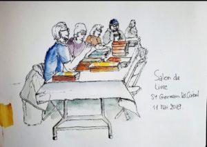 """VIE DE L'ASSO : Croquis USK """"Salon du livre Saint-Germain-Les-Corbeil"""""""